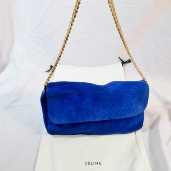 Celine Handbags - NEW CELINE PARIS ROYAL BLUE HOBO Suede Bag Purse